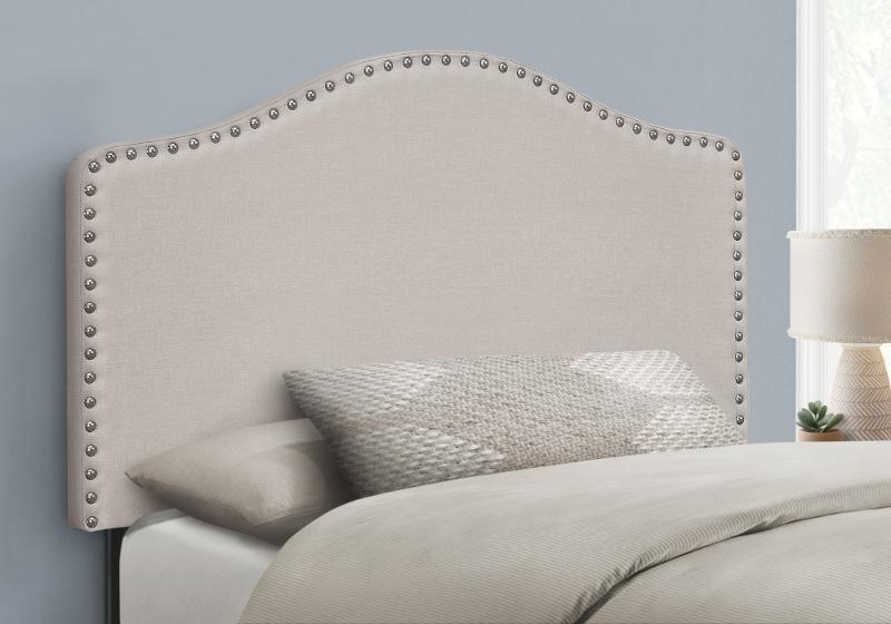 BED - TWIN SIZE / BEIGE LINEN HEADBOARD ONLY