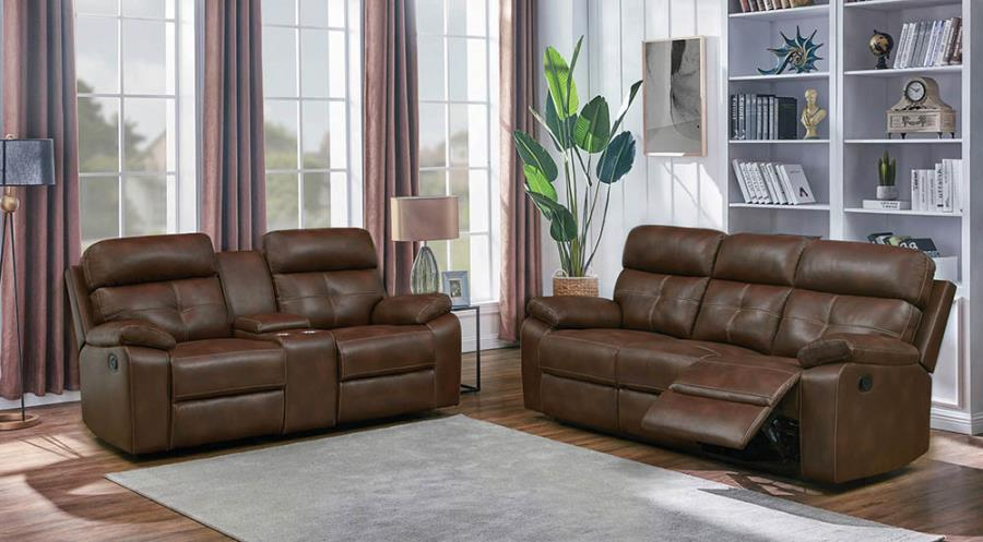 601691-92 2 pc Canora grey amidon damiano brown faux leather reclining sofa and love seat set