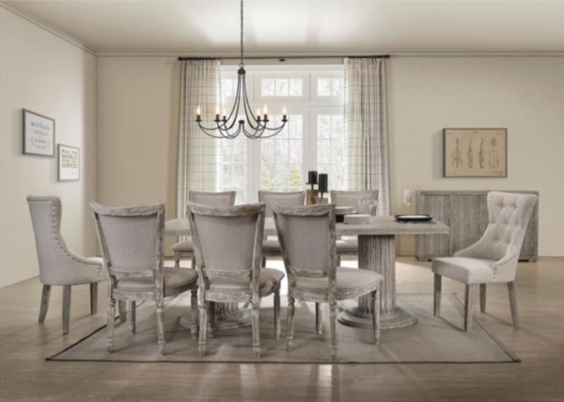 Acme 60170-72-73 7 pc One allium way jessica gabrian reclaimed gray finish wood double pedestal dining table set