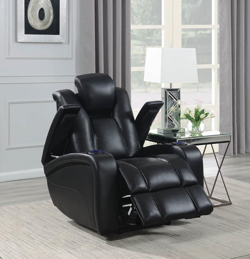 601743P Modern black faux leather power motion and headrest recliner chair