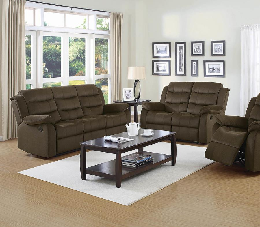 601881-82 2 pc Loon peak rancho cucamonga rodman olive brown microvelvet fabric reclining sofa and love seat set