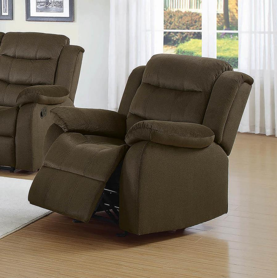 601883 Casual chocolate microvelvet fabric overstuffed glider recliner chair