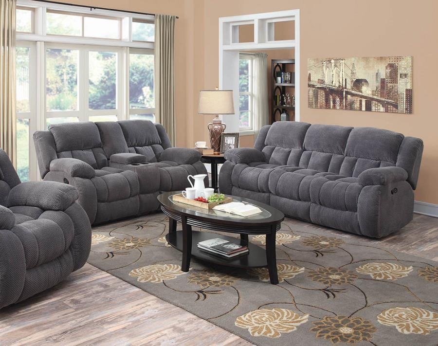 601921-22 2 pc Wildon home weissman charcoal textured chenille fabric reclining sofa and love seat set