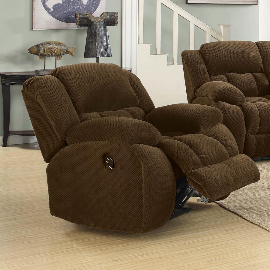 601926 Casual chocolate textured fleece fabric overstuffed glider recliner chair