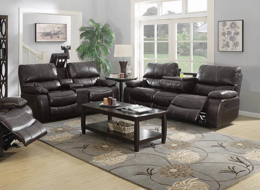 601931-32 2 pc Red barrel studio neagle willemse dark brown faux leather recliining sofa and love seat set