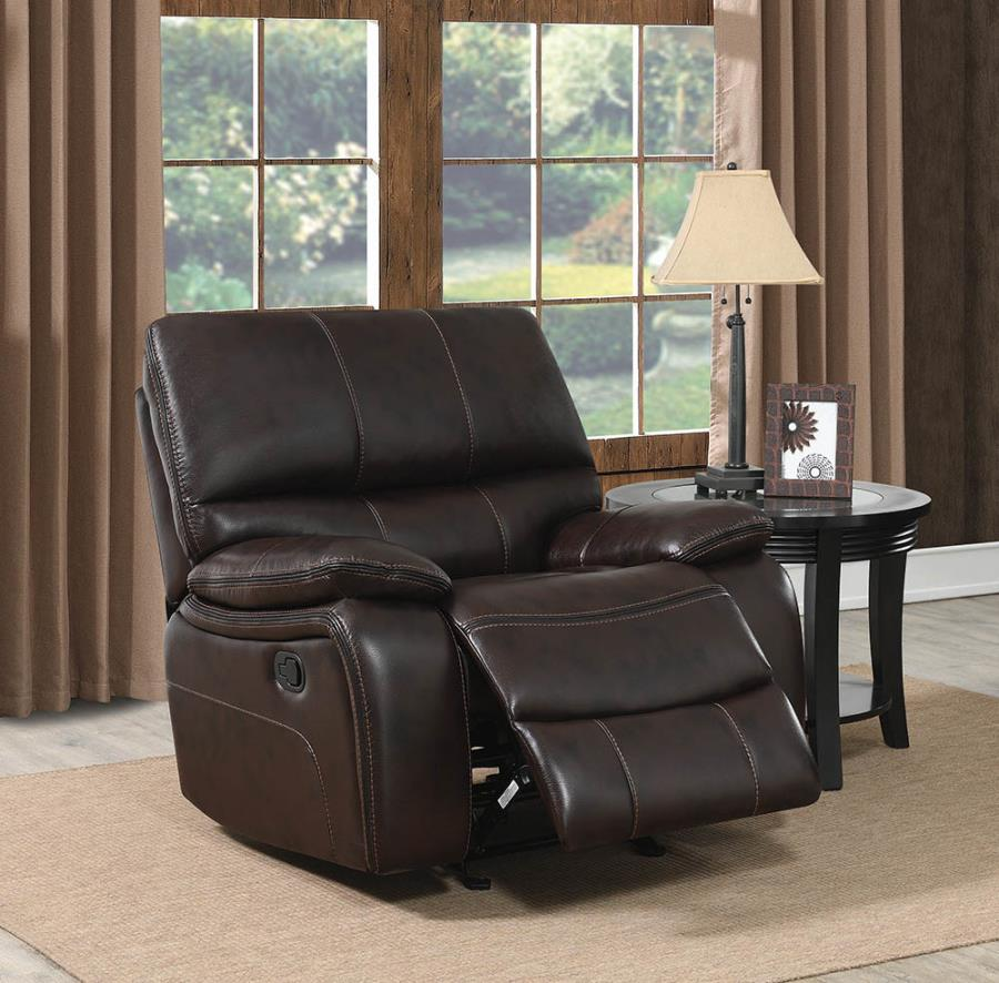 601933 Casual dark brown faux leather glider recliner chair