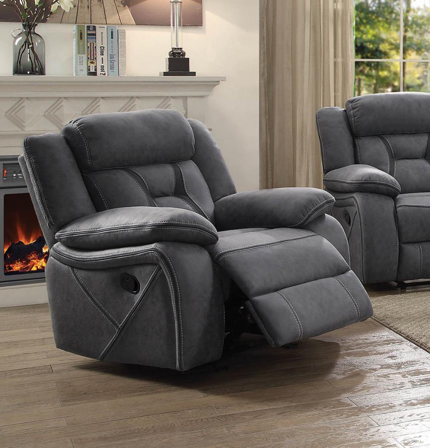 602263 Modern transitional grey microfiber fabric glider recliner chair