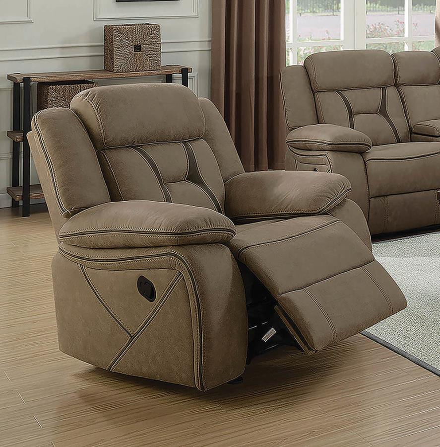 602266 Modern transitional tan microfiber fabric glider recliner chair