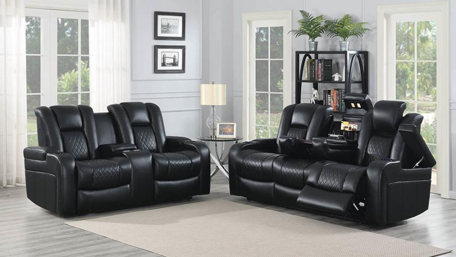 602301P-02P 2 pc Red barrel studio piccadilly delangelo black faux leather power motion sofa and love seat set