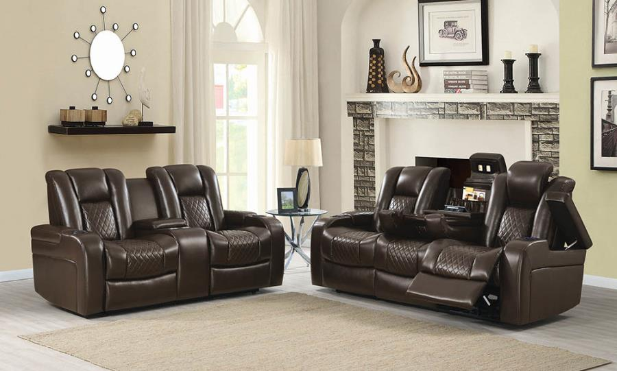 602304P-05P 2 pc Red barrel studio piccadilly delangelo brown faux leather power motion sofa and love seat set