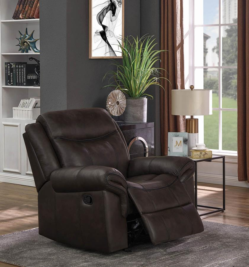 602333 Casual cocoa faux leather glider recliner chair