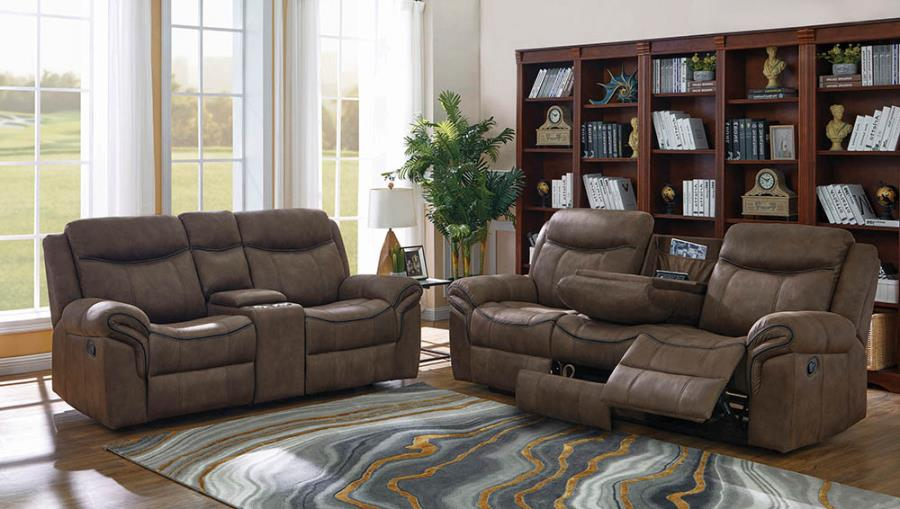 602334-35 2 pc Red barrel studio nyberg sayler II two tone taupe faux suede reclining sofa and love seat set