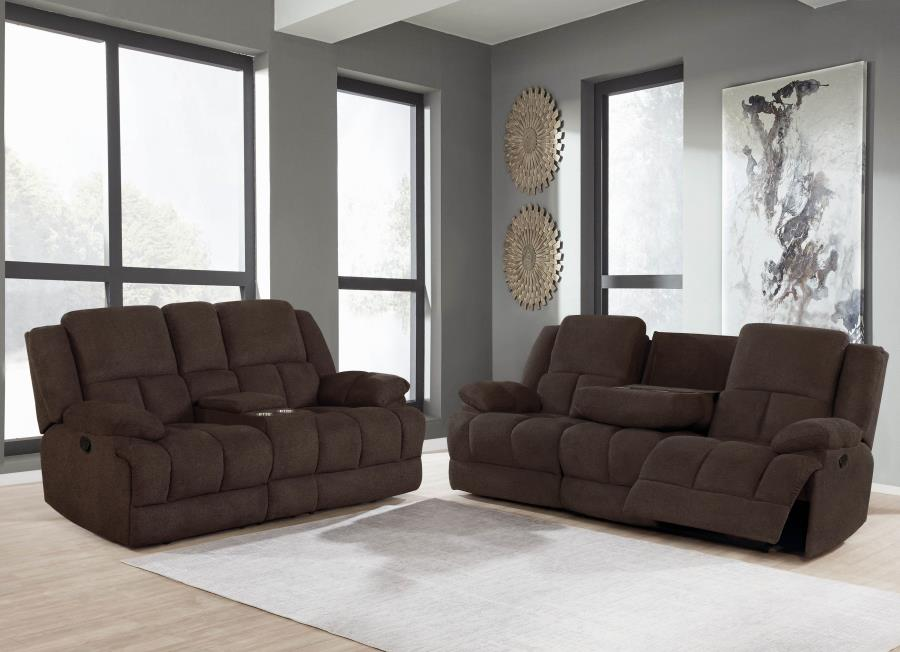 602571 2 pc Red barrel studio bolander Waterbury brown textured chenille fabric reclining sofa and love seat set