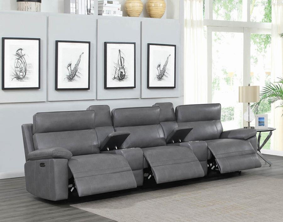 603271PPT 5 pc Red barrell studio albany grey leather gel match modular theater sofa power motion recliners and headrests