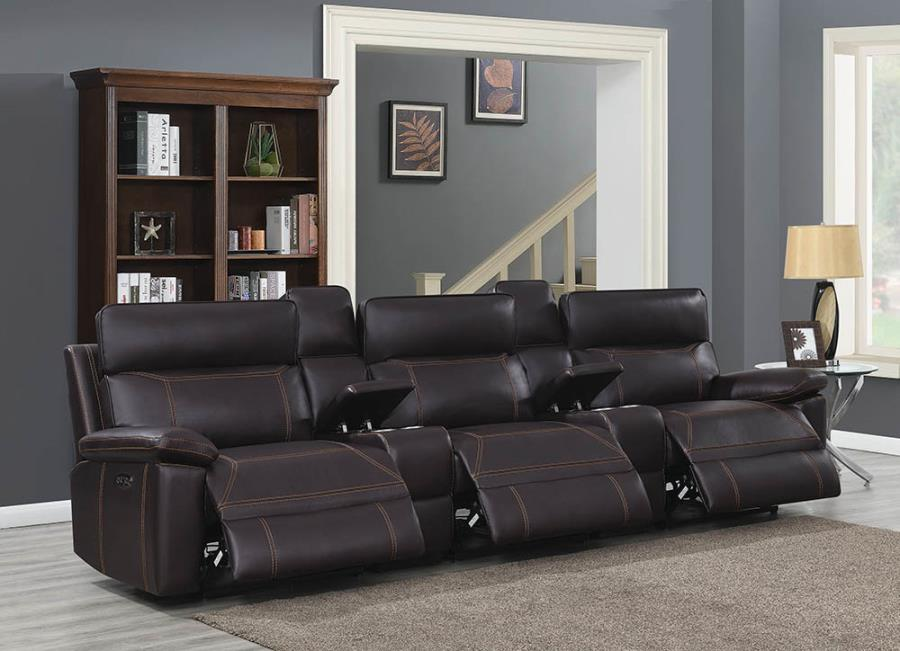 603291PPT 5 pc Red barrell studio albany brown leather gel match modular theater sofa power motion recliners and headrests
