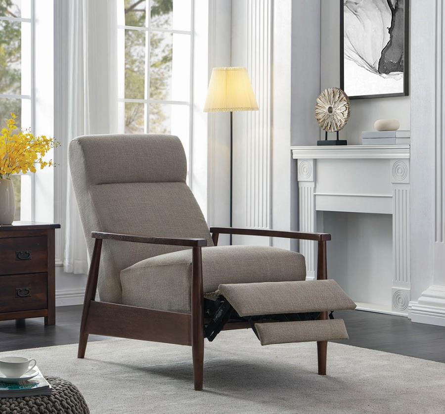 603298 Mid century modern cream colored fabric walnut finish wood recliner chair