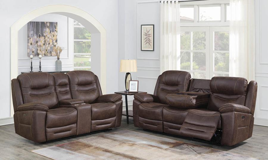 603331PP 2 pc Red barrel studio lenum hemer chocolate faux suede power motion sofa and love seat set