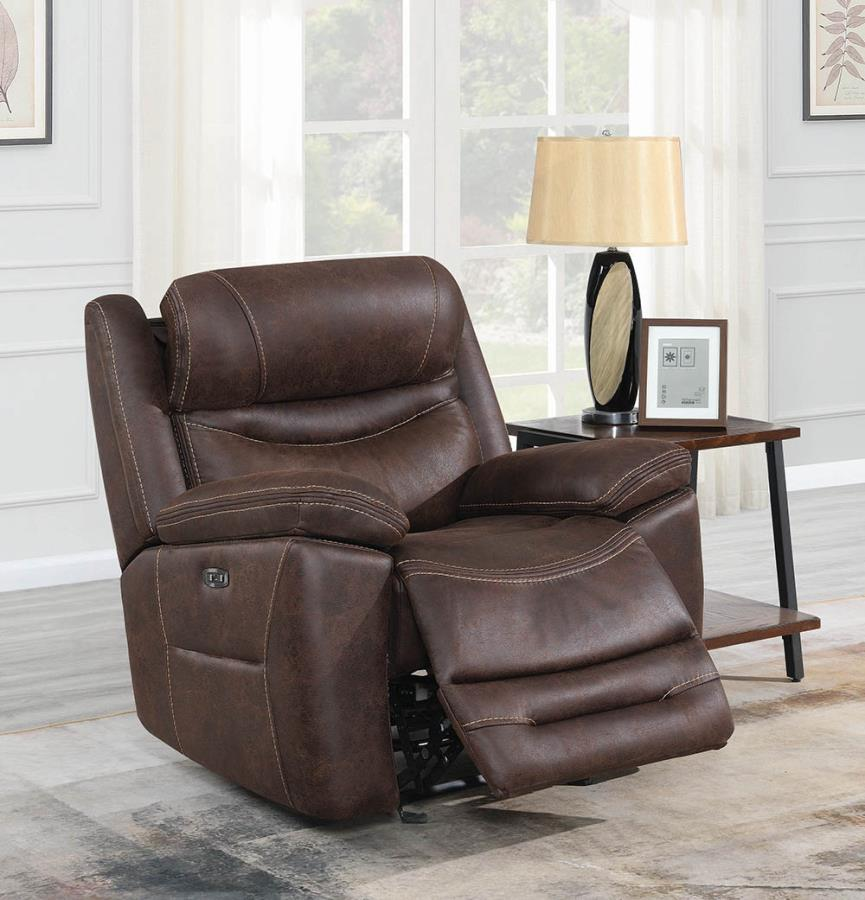 603333PP Transitional chocolate faux suede power motion and headrests glider recliner chair