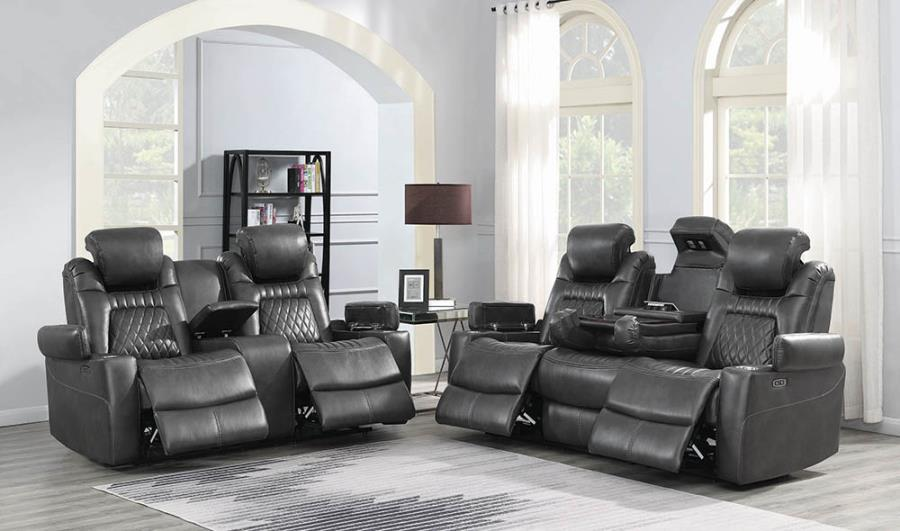 603414PP 2 pc Red barrel studio piccadilly korbach charcoal faux leather power motion sofa and love seat set