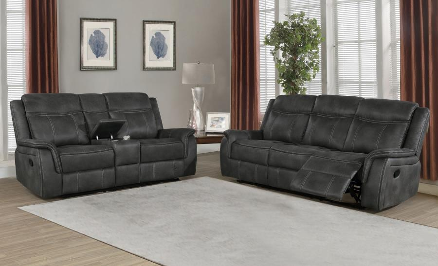 603504 2 pc Red barrel studio bolander Lawrence charcoal coated microfiber reclining sofa and love seat set