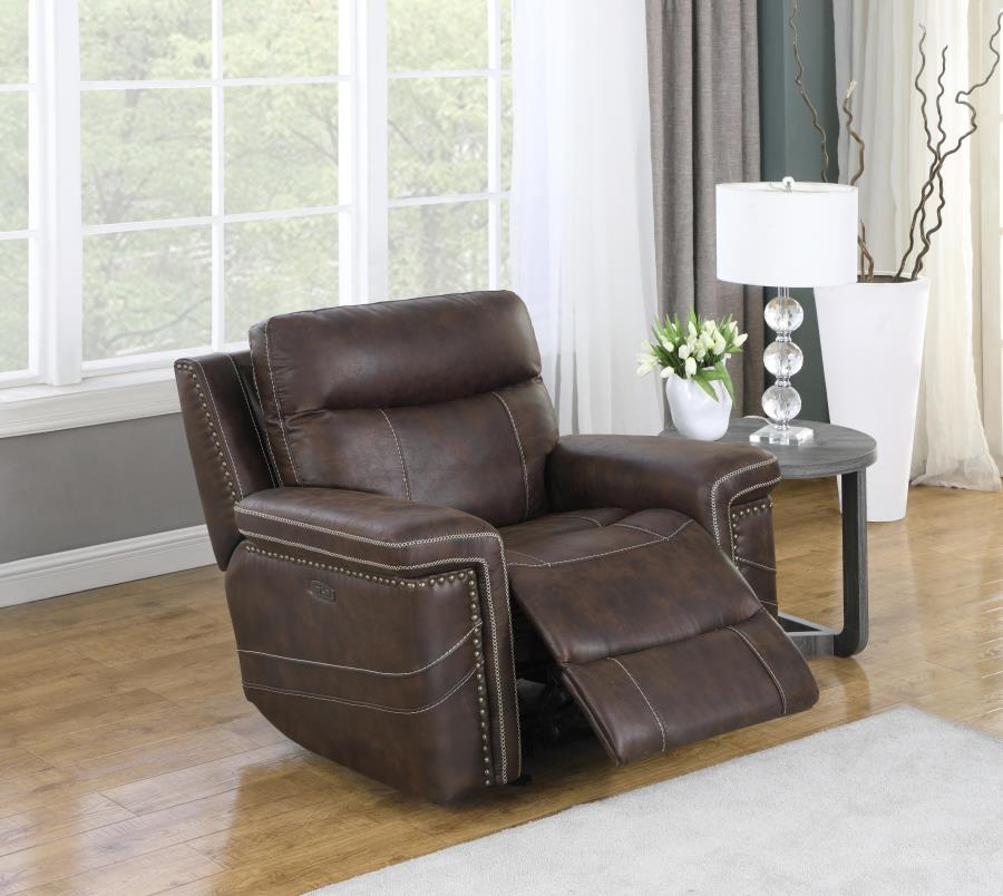 603513PP Modernized brown faux suede power motion and headrests glider recliner chair