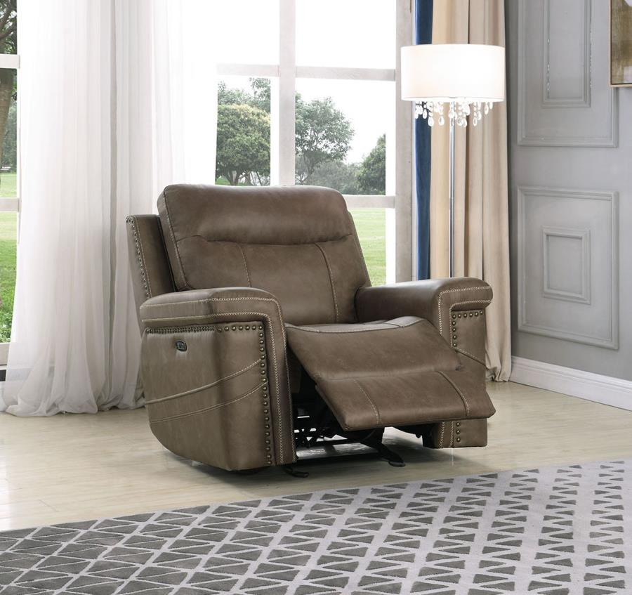 603519PP Modernized taupe faux suede power motion and headrests glider recliner chair