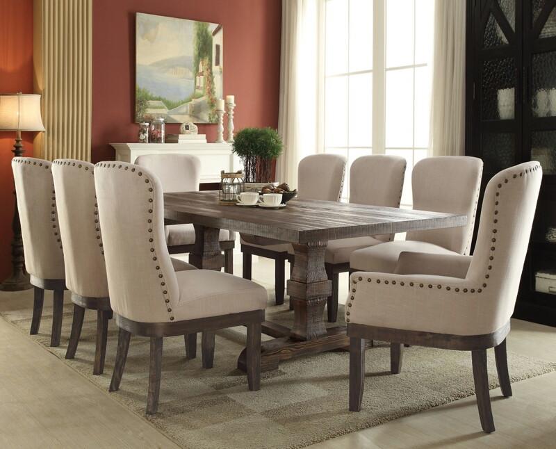 Acme 60737-42-43 7 pc Gracie oaks landon salvage brown distressed finish wood dining table set