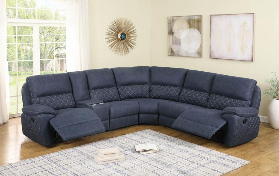 608990 6 pc Latitude run variel blue faux suede sectional sofa set with recliner ends