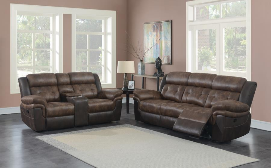 609141 2 pc Red barrel studio Saybrook chocolate / dark brown coasted microfiber reclining sofa and love seat set
