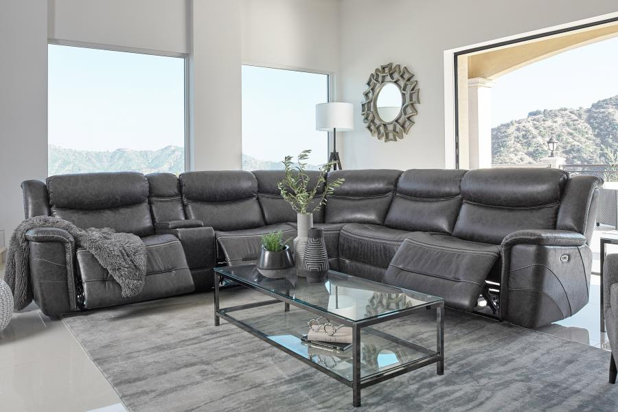 609360PP 6 pc Latitude run bluefield charcoal faux suede sectional sofa set power recliners and headrests