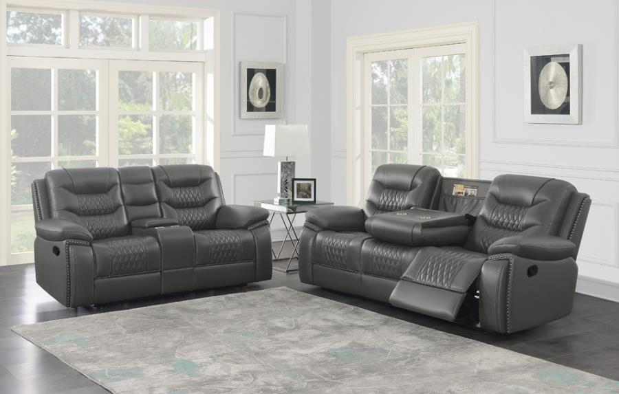 610204 2 pc Darby home co Flamenco charcoal leatherette reclining sofa and love seat set