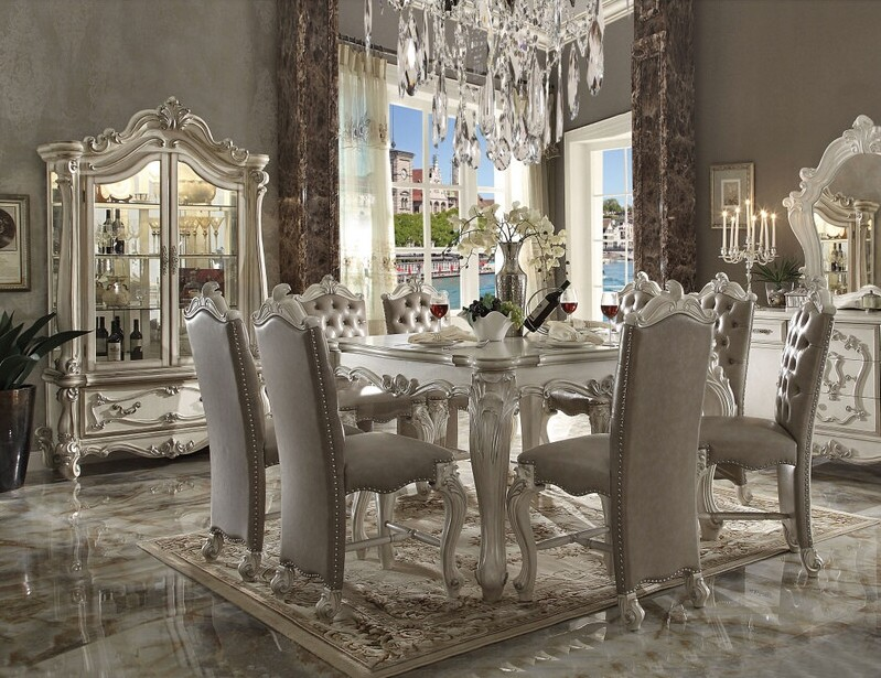7 pc versailles collection bone white wash finish wood counter height dining table set