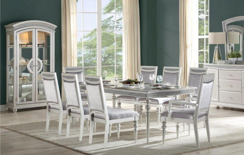 """Acme 61800-02-03 7 pc Maverick platinum finish wood rhinestone inlay 88"""" long dining table set"""