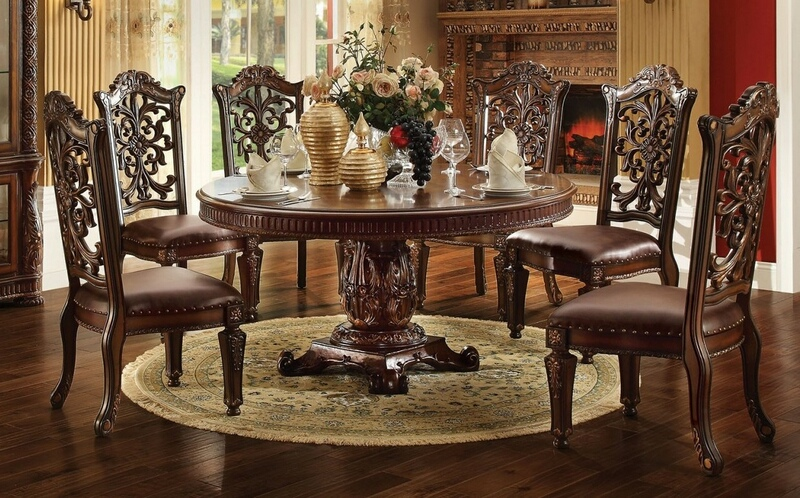 """7 pc vendome v collection cherry finish 72"""" dia. round wood top pedestal dining table set"""