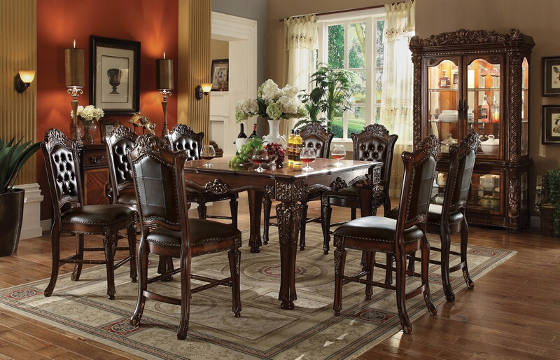 Acme 62025-34 7 pc vendome ii cherry finish wood counter height dining table set