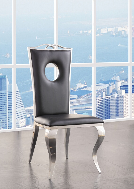 Acme 62078 Set of 2 Noralie chrome finish metal and black faux leather dining chairs