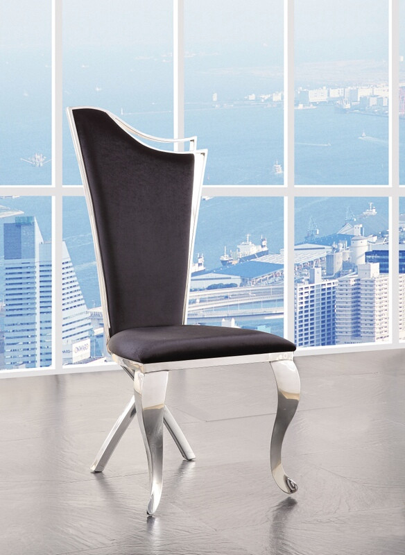 Acme 62079 Set of 2 Noralie chrome finish metal and black fabric dining chairs