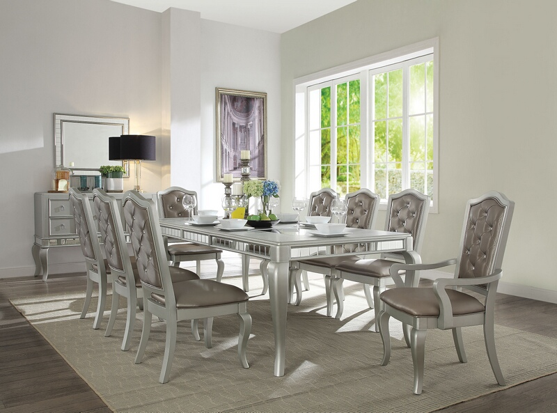 "Acme 62080-82-83 7 pc Francesca champagne finish wood 92"" long dining table set"