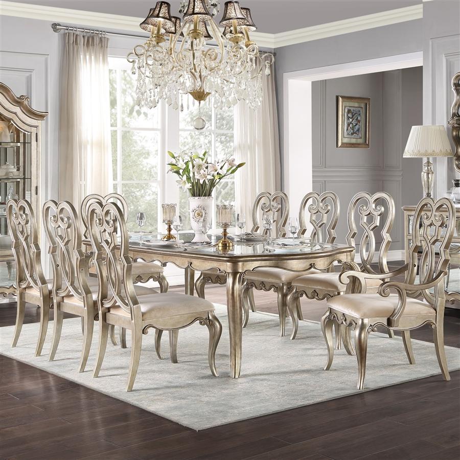 Acme 62200-02-03 7 pc Waldorf park esteban antique champagne finish wood dining table set