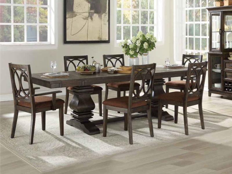 Acme 62320-19-22 7 pc Darby home co kinsman jameson rustic espresso finish wood trestle base dining table set