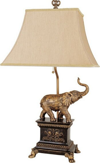 Single elephant table lamp with fabric lamp shade