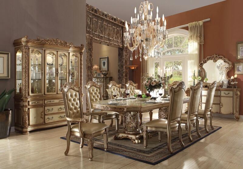 Acme 63000-03-04 7 pc Astoria grand petrina vendome gold patina finish wood dining table set