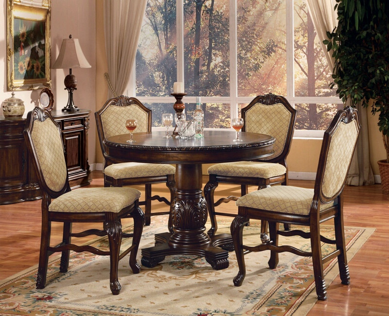 """Acme 64082-84 5 pc Astoria grand chateau de ville ii espresso finish wood 48"""" round counter height dining table set"""