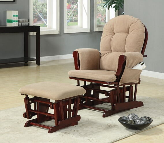 650010 2 pc cherry finish wood with beige microfiber fabric upholstered glider rocker chair with ottoman