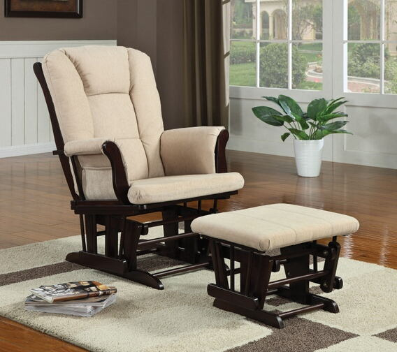 2 pc espresso finish wood with beige microfiber fabric upholstered glider rocker chair with ottoman