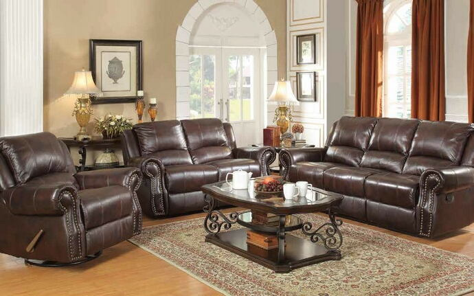 2 pc sir rawlinson collection burgundy brown top grain leather match sofa and love seat with recliner ends