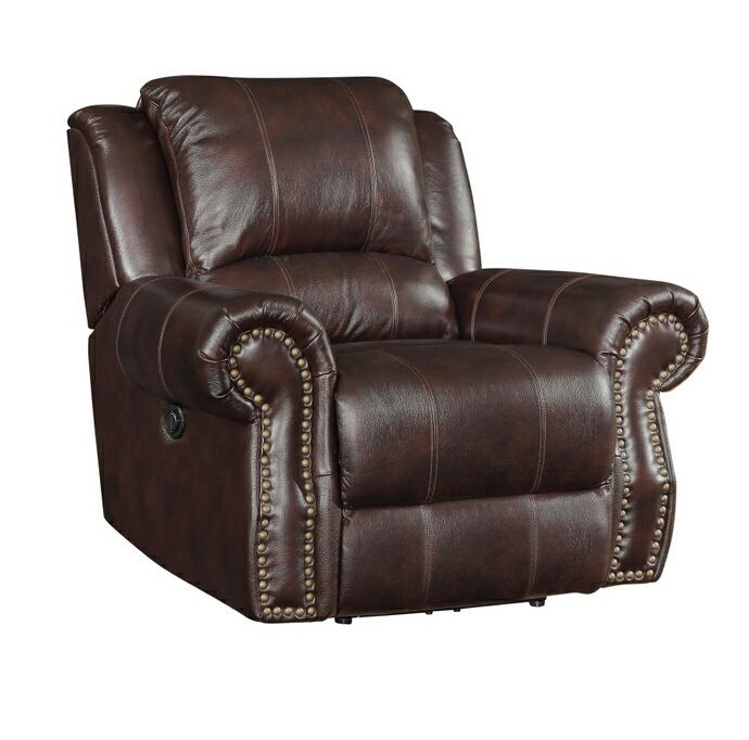 Tobacco burgundy brown leather match upholstered swivel rocker recliner with nail head trim