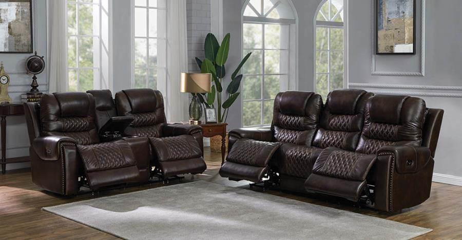650401PP 2 pc Strick & Bolton celine north dark brown top grain leather power motion sofa and love seat set