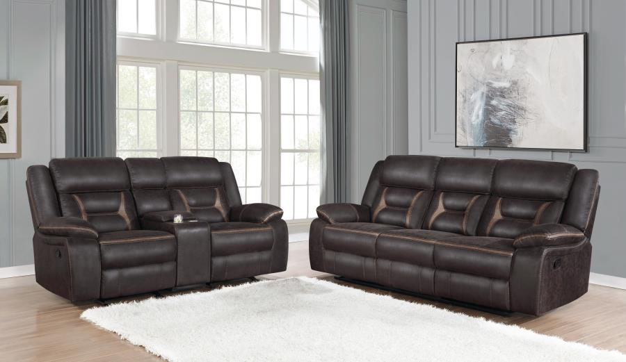 651354-55 2 pc Canora grey amidon Greer dark brown leatherette reclining sofa and love seat set