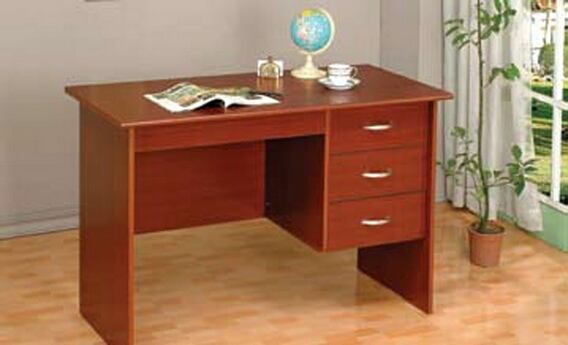Cherry finish wood student writing desk with drawers
